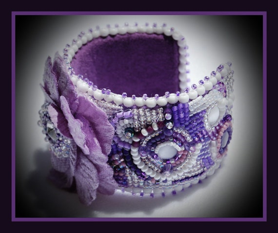 Purple and White Bead Embroidered Wrist Corsage  with Swarovski Crystal Center
