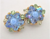 Cluster Earrings Blue & Green Crystal and Glass with Gold Tone Clip Ons Vintage