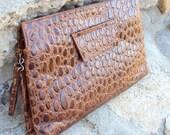 Clutch Purse Leather Faux Alligator Double Zipper Vintage