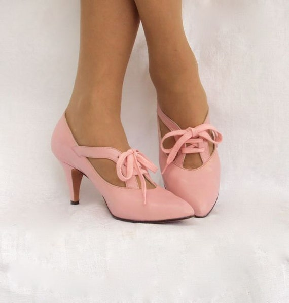 Shoes Pink Pumps with Laces by Amano for Lloyd Gotchy of Reno Vintage 8