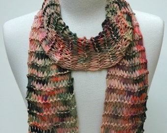 Cotton Scarf- Hand Knit/  Rose, Mauve,Coral, Lavender, Green,