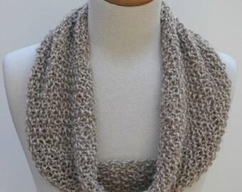 Merino & Alpaca Infinity Scarf- Hand Knit/  Wheat