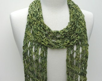 Cotton Scarf- Hand Knit/ Green, Olive