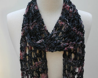 Cotton  Scarf- Hand Knit/ Black, Mauve, Rose, Gray