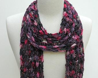 Cotton Scarf-Hand Knit/  Plum, Pink, Mauve, Sea Mist