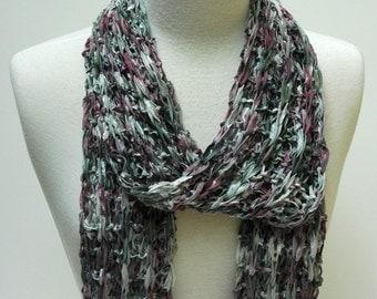Hand Knit Cotton Scarf- Green, Mauve, Merlot, Gray