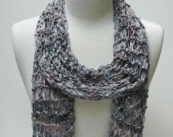 Cotton Scarf- Hand Knit/ Gray, Mauve, Rose