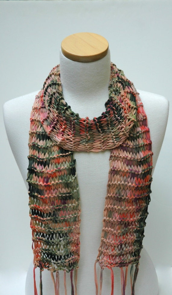 Knitting Pattern Cotton Scarf : Cotton Scarf Hand Knit/ Rose MauveCoral Lavender Green