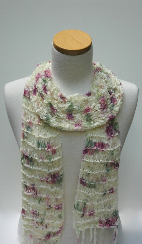 Merino Scarf-Hand Knit /  Rose/Cream/ Sea Green