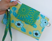 CLEARANCE HALF PRICE Convertible Wristlet Green and Teal Floral