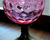 Victorian Cranberry Thumbprint Glass Candle Shade