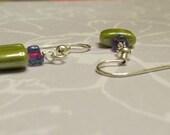 Purple and Green Glass earrings