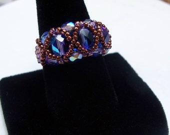 Fire-Polish Ring Pattern, Beading Tutorial in PDF