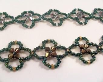 Four Leaf Clover Bracelet Pattern, Beading Tutorial in PDF