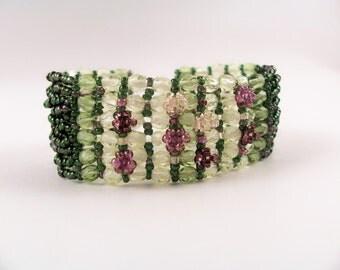 Blooming Flowers Bracelet Pattern, Beading Tutorial in PDF