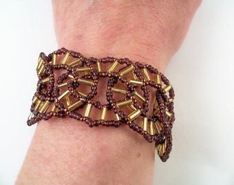 Spokes Bracelet Pattern, Beading Tutorial in PDF