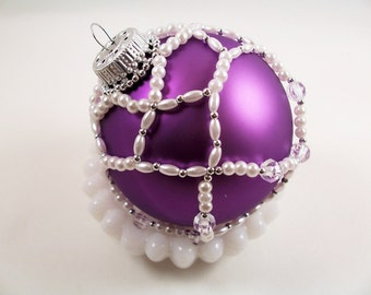 Crystal Christmas Ornament Pattern, Beading Tutorial in PDF
