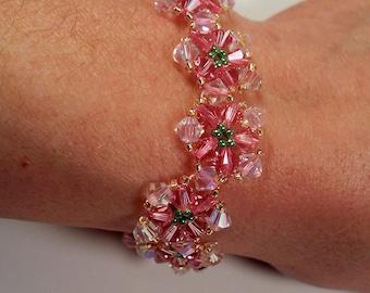 Crystal Flower Bracelet, Beading Tutorial in PDF