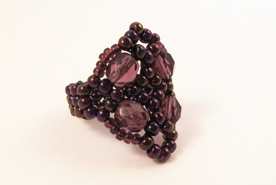 Fire Polished Cluster Ring, Beading Tutorial in PDF