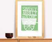Molly Mallone Modern Irish Trad Poster