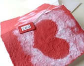 Handmade Paper Heart Romantic Red White Card