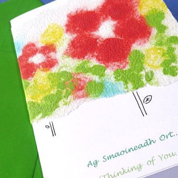 Handmade Paper Colorful Flowers Thinking of You Card