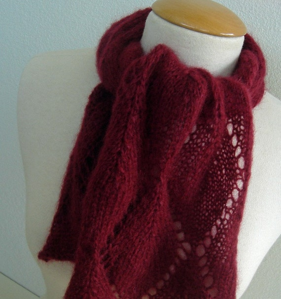 Wine Red Mohair Scarf by HandmadeHandsome on Etsy