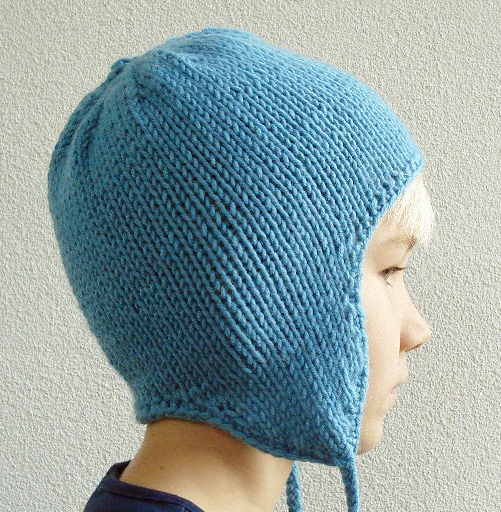 Knitting Pattern Beanie With Ear Flaps : Knitting PATTERN Earflap Hat for Children