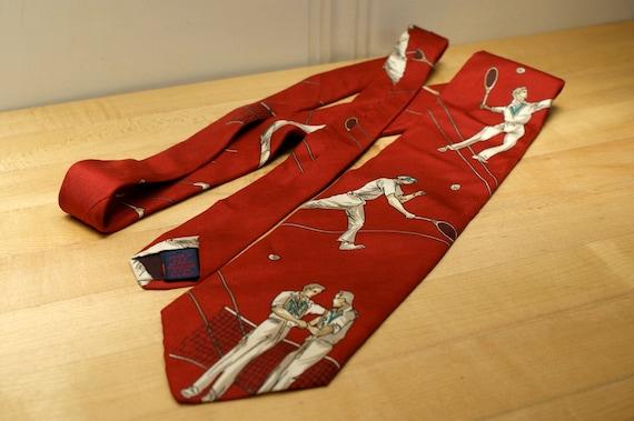 Men's Necktie with Tennis Players Red Silk Neck Tie