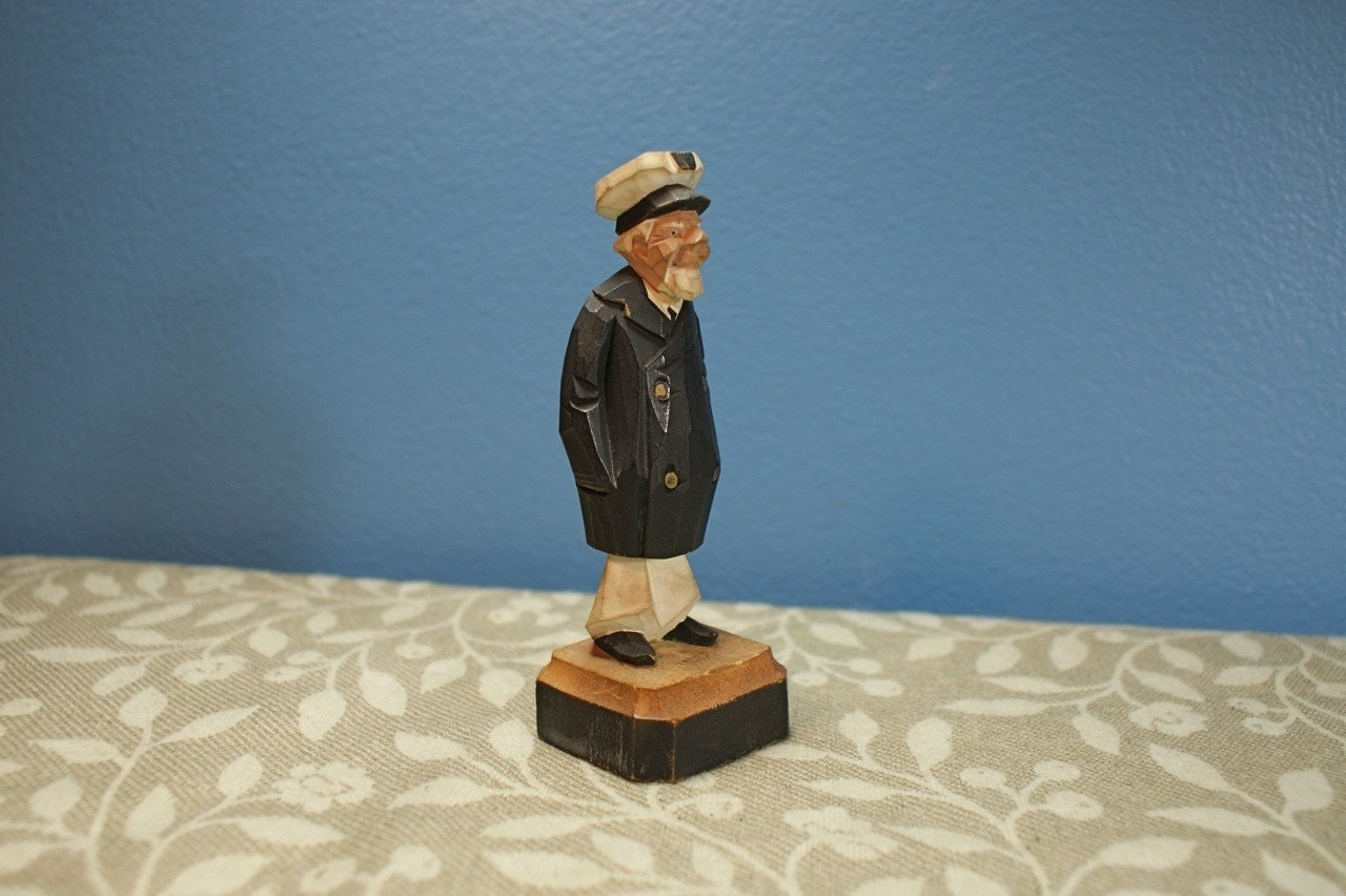 Vintage old sea captain wood carving