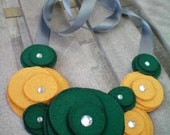USF bulls...packers...bib necklace...green and gold...Flower Swirl Necklace-college edtion (USF)