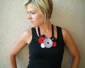 Flower Necklace...Bib...Statement...SALE...Five Flower Cluster Necklace (mod red)
