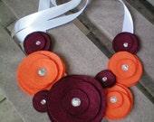Necklace...Flower...Statement...team colors...SALE...Flower Swirl Necklace-College Edition (Virgina Tech)
