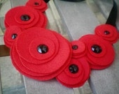 Bib necklace...flower necklace...felt...statement...Flower Swirl Necklace (red)