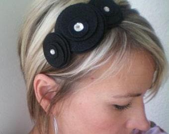Flower Headband...felt...Three Flower Cluster Headband (black)