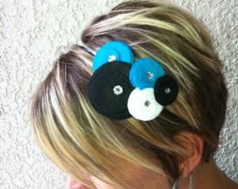 Felt Flower Headband...Five Flower Cluster...teal, black, white