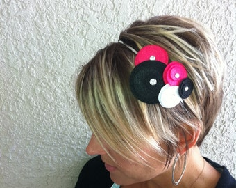 Flower Headband....Five Flower...(hot pink, black, white)
