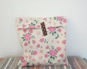 LAST SET - - XL size 26 cmX20cm Set 20 vintage style pink roses flower recycle paper bags gift bags gift wrap