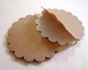 20 large circle scallop kraft label tag sticker diameter 3 inch scrapbooking or packing