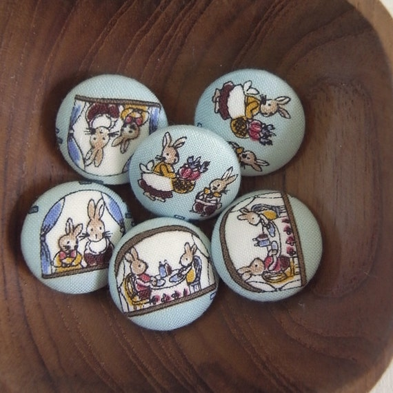 Bunny SET 6 assorted blue rabbit Fabric covered  Handmade buttons 22mm woodland bunnies