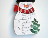 Chunky wooden snowman puzzle