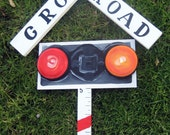 wooden hand painted Rail road crossing growth stick