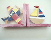 Hand painted personalized  airplane and sail boat bookend in primary colors with a whitewash finish,boys bookends,bookends,personalized,gift