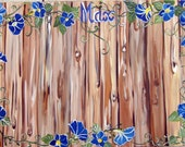 Customized hand painted foam board buletin board with rustic wood and trailing morning glories
