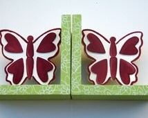 Butterfly bookends to in rasberry red and green,butterfly bookends,personalized bookends,personalized,room decor,spring green room decor,red