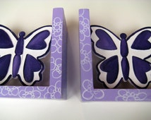 Purple butterfly children's bookends personalized and customized to match girls room decor