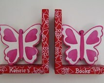 Butterfly bookends,hot pink,red, personalized bookends,book ends,girls bookends,pink and red decor,kids bookends,children's bookends
