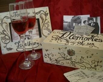 Memories of us, hand painted personalized,customized keep sake box,distressed keepsake box,romantic gift,personal keepsake box,wooden box