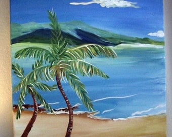 new day is a set of three paintings, seascape, wall art, sea, sand and palm trees, calm seascape, room decor,ready to ship.sea painting