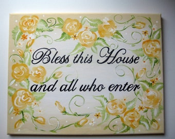 Yellow Roses Blessing wall art customized to match decor,Bless this house,wall sign,wall art,wall hanging,yellow roses,Bless this house sign